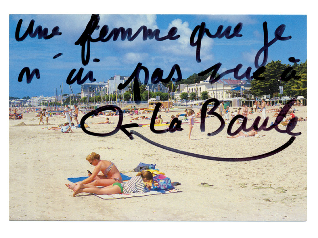 Claude Closky, 'Une femme que je n'ai pas vue à La Baule [A woman I haven't seen in La Baule],' 1995, black felt pen on postcard, 10,5 x 15 cm.